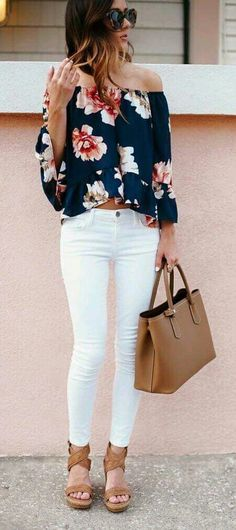 Off the shoulder print blouse with white jeans