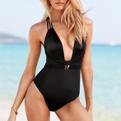 VICTORIA'S SECRET Plunge Strap One-Piece Swimsuit HARD TO FIND. From the Very Sexy collection by Victoria's Secret comes the Plunge Strappy Back One Piece Bathing Suit. Crafted from luxe Italian fabric and shiny gold hardware, this one-piece is all-around sexy and adds instant glam to any beach day! The straps that wrap at the plunging front and crisscross at the low back can also be moved and worn exclusively around the front for an extra cinched waist, as shown in the first and last photo…