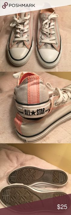 Converse All Stars Sneakers Converse. Women's size 7.  In excellent shape. Cream with gray and peach accents. Converse Shoes Sneakers