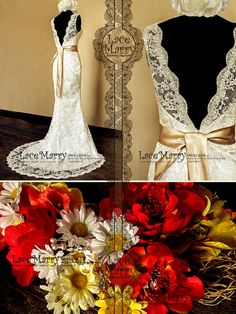 Deep VCut Back Vintage Style Lace Wedding Dress by LaceMarry, $294.00