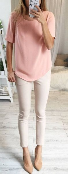 Perfect Pink T-shirt for spring #spring #fashion   Similar style available on SiiZU