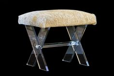 Lucite X Base Stoolwith Grey Cowhide  Also Available AsAxis Hide Stool