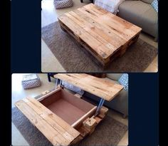 Pallet Furniture Ideas Coffee Table with Inside Storage - 15 Unique Reclaimed Pallet Table Ideas Pallet Crafts, Pallet Projects, Home Projects, Woodworking Projects, Diy Pallet, Pallet Ideas, Pallet Designs, Woodworking Store, Woodworking Basics