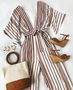 The Lulus Hook, Line, and Sinker Rust Red Striped Jumpsuit has . The Lulus Hook, Line, and Sinker Rust Red Striped Jumpsuit has caught our eye and - Mode Outfits, Dress Outfits, Casual Outfits, Fashion Outfits, Womens Fashion, Jumpsuit Outfit, Fashion Ideas, Dress Fashion, Casual Hair