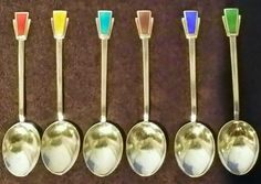 SET OF 6 ART DECO HALL MARKED SOLID STERLING SILVER & GUILLOCHE ENAMEL SPOONS in Home, Furniture & DIY, Antiques | eBay
