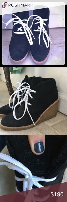 Coach booties Never worn!! Beautiful suede black Coach booties with a rubber heel and bright white laces ☺️ Coach Shoes Ankle Boots & Booties