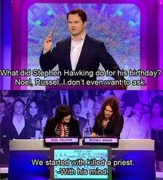 When they actually did give answers to Jimmy's questions, and it ended up being the best part of the show. | 19 Times Noel Fielding And Russell Brand Were The Funniest Duo In Britain