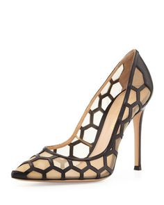 Honeycomb+Point-Toe+Pump,+Black/Nude+by+Gianvito+Rossi+at+Neiman+Marcus.