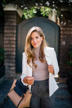 Gal Meets Glam Wear To Work - Express blazer, sweater & pants c/o & Celine bag