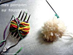 mini pompom sur fourchette