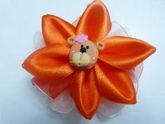 moños con flores   faciles en  cinta para el cabello paso a paso.