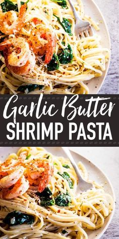 This Garlic Butter Shrimp Pasta is the quick weeknight dinner you've been lookin.This Garlic Butter Shrimp Pasta is the quick weeknight dinner you've been looking for! Linguine smothered in a creamy sauce full of lemon and garlic flavors, to Garlic Butter Shrimp Pasta, Shrimp Linguine, Linguine Recipes, Seafood Recipes, Cooking Recipes, Healthy Recipes, Butter Sauce For Pasta, Quick Recipes, Healthy Sauces For Pasta
