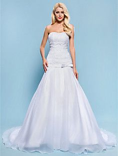 Ball Gown Strapless Chapel Train Lace And Organza Wedding D... – USD $ 147.49