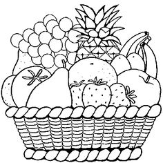 A Bowl of Fruits coloring page