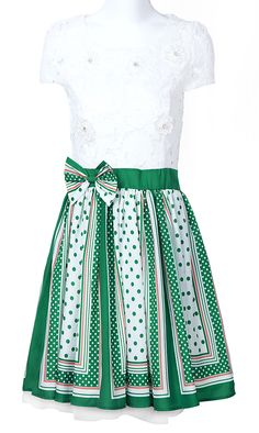 White Green Short Sleeve Bead Bow Polka Dot Dress so cute!!!!