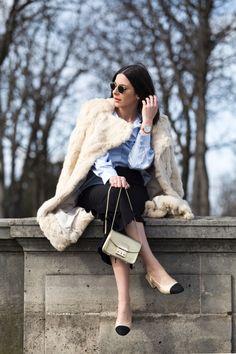 Gold Furla bag & Chanel slingback