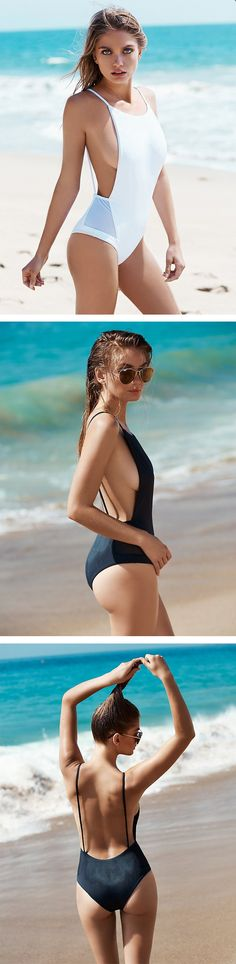 Women's Solid Color Spaghetti Strap Scoop Back One Piece Swimsuit