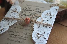 Rustic Burlap & Lace Doily Wedding by RusticEleganceDesign on Etsy Doily Wedding, Vintage Wedding Invitations, Wedding Invitation Suite, Wedding Stationary, Invitation Cards, Wedding Cards, Rustic Wedding, Lace Invitations, Hessian Wedding