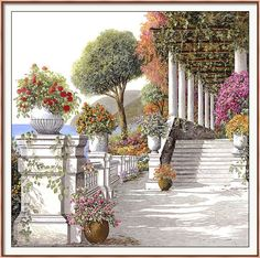 Four Seasons ~ Summer On Lake Como Framed Print by Guido Borelli