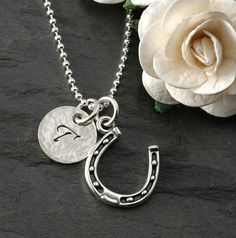 Horseshoe Necklace with initial disc - sterling silver.