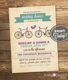Bicycle Wedding Shower Invitation, Bridal Shower, Sage Green, Plum, Eggplant, Purple, Retro, Printable File (Custom, INSTANT DOWNLOAD) by InvitingDesignStudio on Etsy