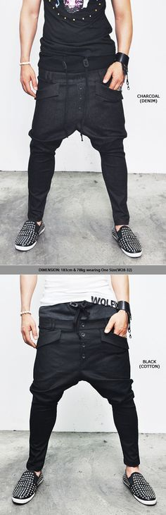 Bottoms :: Pants :: Hipster's Double-layered Mix Drop Crotch Baggy-Pants 80 - Mens Fashion Clothing For An Attractive Guy Look