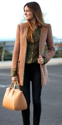 Camel jacket | black jeans.