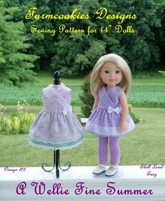 "WELLIE WISHER® PDF Sewing Pattern: A Wellie Fine Summer! / Sewing Pattern for 14"" American Girl Wellie Wishers®."