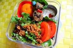 Vegan taco salad lunch with veggie protein dumplings (recipe included)