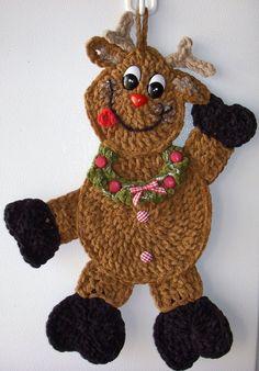 jerre+lollman+crochet | Crochet Reindeer, wall deco, by Jerre Lollman