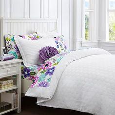 LOVE that purple flower pillow! Pottery Barn Teen
