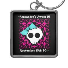 Cute gothic skull birthday keepsake sweet 16 keychain - tap to personalize and get yours