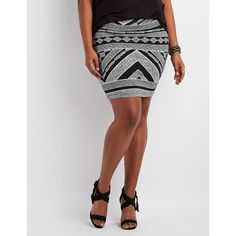 Charlotte Russe Printed Bodycon Mini Skirt ($14) ❤ liked on Polyvore featuring plus size women's fashion, plus size clothing, plus size skirts, plus size mini skirts, short skirts, pencil skirt, floral print skirt, black and white striped mini skirt and print pencil skirt