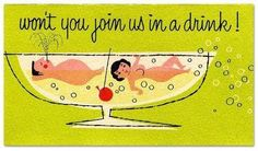 """vintage """"swingers"""" invite From our collection, a risque mini invitation by Citation Cards, New York: A naked couple floats is a cocktail glass along side a cherry. """"Won't you join us in a drink!"""" Inside: """"Time, Date, Place"""" Vintage Bar, Vintage Design, Vintage Images, Retro Vintage, Retro Images, Vintage Graphic, Cocktail Party Invitation, Vintage Cocktails, Mid Century Art"""