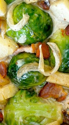 Creamy Brussels Sprouts with Bacon, Apples and Gorgonzola Cheese