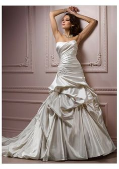 Satin Strapless Bateau Neckline Pleated Bodice With Beaded Floral Embellishment Accents A-line Pick-up Skirt With Chapel Train 2