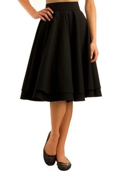 Wardrobe staple: black circle skirt, flirting just below the knee. Gotta have it. Moon Collection via ModCloth.