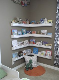 for lexi's room....create these shelves for lexi's book corner, add bean bag chair & use the white fabric drape to hang from ceiling to seperate this part of her room :)