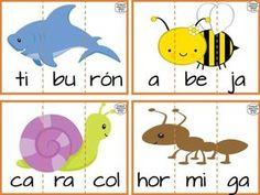 Estupendas tarjetas de animales divididas por sílabas para preescolar, primer y segundo grado de primaria | Educación Primaria