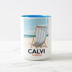 Calvi Corsica Travel poster Two-Tone Coffee Mug Custom Office Retirement #office #retirement