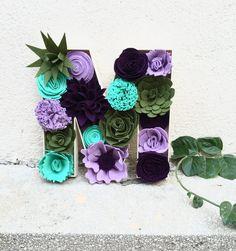 Floral Inital Felt Flower Letter Felt Succulents by tkCo on Etsy