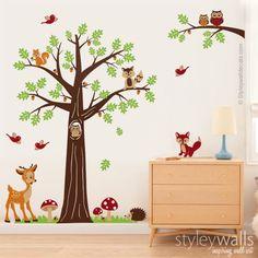 Kinderzimmer wandgestaltung tiere  Baum Waldwald Tiere Wandtattoo | Wandtattoo, Dawanda und Tier