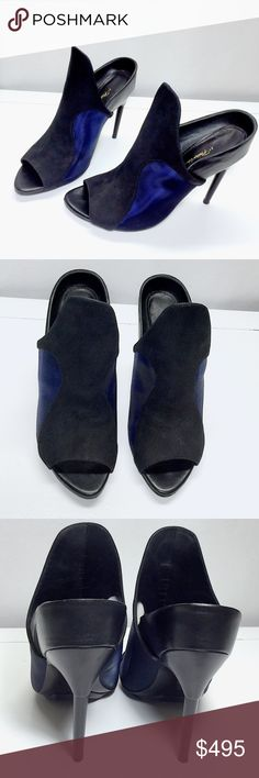 "3.1 Phillip Lim Aria suede-paneled blackblue mules 3.1 Pihllip Lim Aira suede-paneled black-blue mules. Sold out, retailing for $595.00. High fashion, run way status mules. Heel height is 4.5"" tall. Navy blue mesh siding, black suede front panel, women's size 9.5 (40 in euro). Worn twice, you can tell in the 4th picture but there are NO flaws on the shoes! Phillip Lim Shoes Mules & Clogs"