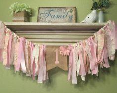 Trapo guirnalda bandera trona Banner - rosa encaje crema banderines personalizados - boda ducha cumpleaños Banner