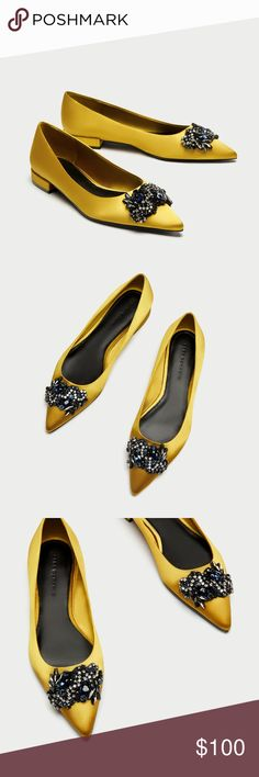New in Box Zara Mustard Jewelled Ballerina Flats New In Box Size 9 (runs a bit tight for a 9 around the toe area due to the jeweled topper) Mustard yellow flat shoes. Satin upper. Jewelled detail on the front. Heel Height .7 inches  Firm Zara Shoes Flats & Loafers