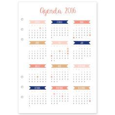Recharge 2016 (janvier à décembre) pour agenda type Filofax®, Kikki K®, format…