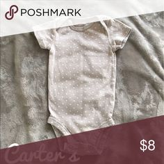 Bundle 3 or more $5 each or $8 individually Carter's gray and white polka dot onesie. On the bottom flap hem there is a light discoloration but it's not noticeable when wearing. Carter's One Pieces