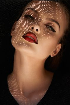 Fashion Photography: Jeff Tse; Stylist: Preston Nesbit {beautiful female head model woman face portrait with diffused lights from straw hat and outlined lipstick}