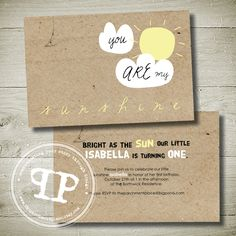 $20 YOU are my SUNSHINE Double Sided Printable Invitation by theparchmentplace on Handmade Australia