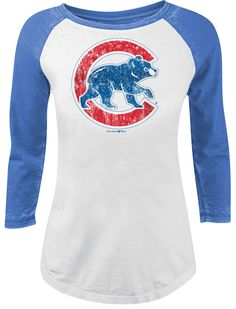 7a81a8b3c7f Chicago Cubs Burnout 3 4-Sleeve Raglan Tee  ChicagoCubs  Cubs  FlyTheW